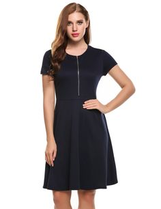 Navy blue Short Sleeve Front Zip Solid Skater Casual Dress