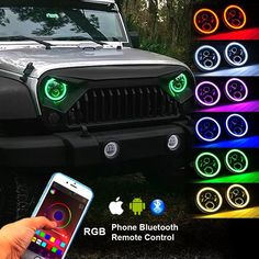 Function of Multifunction Halo Angle Eye: Bluetooth Controlled & iPhone and Android Compatible & Timing function & Music Mode & Flashing Function & Automatic Control 7 Jeep Wrangler Tj, Jeep Tj, Jeep Rubicon, Jeep Truck, Jeep Wrangler Interior, Red Jeep, Car Interior Accessories, Cute Car Accessories, Honda Civic