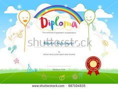 Kids Summer Camp Diploma or certificate template award ribbon and