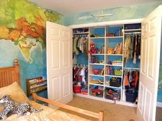 closet organisation - kids closets should be redone to include more shelving for toys and books