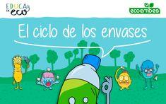 Recursos educativos de reciclaje | Ecoembes Peanuts Comics, Upcycling, Alphabet Soup, Note Cards