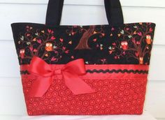 Fall Owls and Leaves Quilted Purse / Tote / Diaper by MsSewItAll32, $35.00