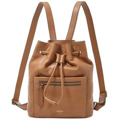 Fossil 'Vickery' Drawstring Leather Backpack (230 AUD) ❤ liked on Polyvore featuring bags, backpacks, accessories, bolsas, camel, brown bag, fossil backpack, brown leather bag, genuine leather backpack and fossil bags