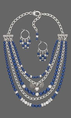 Multi-Strand Necklace and Earring Set with SWAROVSKI ELEMENTS, Silver-Finished Steel Chain and Czech Fire-Polished Glass Beads