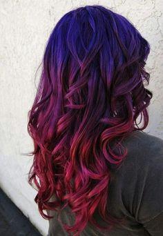 Imagem de hair, blue, and red