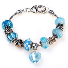 Blue Pugster charm bracelet