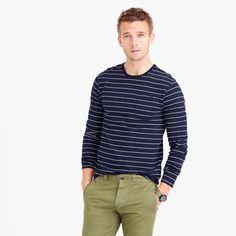 Tall Slub Cotton Long-Sleeve T-Shirt In Navy Stripe : Men's Tees | J.Crew