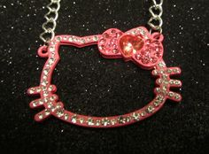 Large pink Hello Kitty and crystal necklace by SparkleOfEden, $25.00