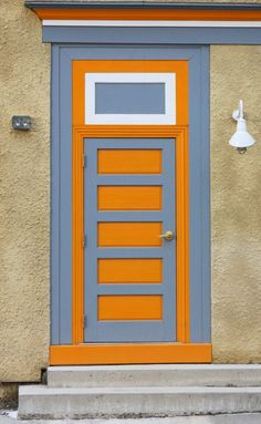 Orange and grey door in Tannersville, New York. Door Entryway, Entrance Doors, Doorway, Front Doors, Knobs And Knockers, Door Knobs, When One Door Closes, Door Detail, Grey Doors