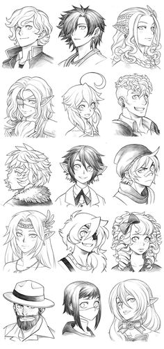 160428 - headshot commissions sketch dump 19 by runshin character design キ Character Drawing, Character Concept, Concept Art, Manga Drawing, Manga Art, Poses References, Character Design References, Character Design Inspiration, Disney Animation