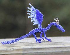 Dragón cielo azul abalorios escultura miniatura