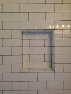 White Subway Tile Niche Detail
