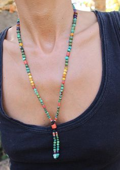 This Mala is one beautiful beaded Necklace, created with high quality gemstones Each gemstone represent varies unique qualities, its a necklace that fits everyone and every style. This Mala is made with Turquoise,Sugilite , Coral, Amber and handmade silver beads . The mala is made with a Thai fishing wire, it is a super-strong string that secure the mala.  Measurements: Length 28.5 cm / 11.22 Tassel 5.5 cm / 2.1  ❤ please feel free to contact me if you need different sizing for this...