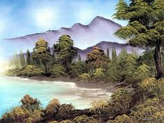 Peaceful Landscape Paintings by Bob Ross  - Bob Ross  Landscape Paintings : Quiet inlet  11