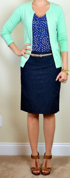 3ea5d1d0c8be Mint cardigan Blue floral blouse Denim pencil skirt Brown mary janes Gold,  silver, pearl multi-strand necklace (mentioned on list though pic shows  gold link ...