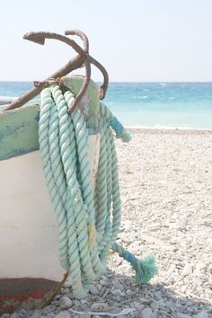 A Beach Cottage - Coastal & Nautical LIfe! — old anchor by the sea Beach Wedding Colors, Beach Cottages, Belle Photo, Seaside, Summertime, Surfing, Boating, Anchor Rope, Small Anchor