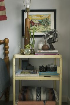 Vintage cart nightstand