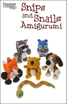 Amigurumi is a Japanese term that translates into small toy or figure. These popular crochet patterns are fun to make and usually end up putting a smile on someones face. Snips and Snails Amigurumi is no different. These sweet little amigurumi are designed especially for the adventurous Huck Finn type, whether boy or girl. The pattern includes instructions for six cute figures