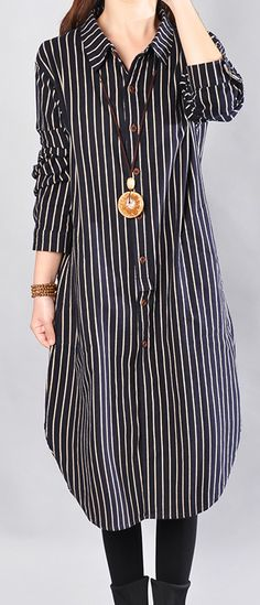 2018 black striped cotton knee dress oversized cotton clothing dress top quality long sleeve side open shirt dressesMost of our dresses are made of cotton linen fabric, soft and breathy. loose dresses to make you comfortable all the time. Chic Outfits, Dress Outfits, Fashion Outfits, Kurta Designs Women, Blouse Designs, Ny Dress, Shirt Dress, Stylish Dresses, Casual Dresses