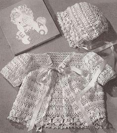 Vintage Thread Crochet PATTERN Baby Set Bonnet Sacque PeekSet