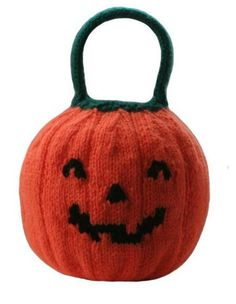 Free Knitting Pattern for Jack O'Lantern Pumpkin Trick or Treat Bag - This free pumpkin shaped bag is by Knitables