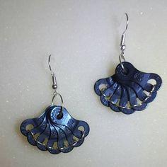 """Bike chain fan shape earrings with black links """"Kitana's Deadly Weapon"""""""
