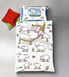 Neu: Bettwäsche für Kinder mit süßen Schafen. So wird Schäfchenzählen zum Kinderspiel. Von fleuresse.