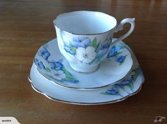 "Royal Albert ""Pertunia"" Tea cup, saucer & plate backstamped Royal Albert Crown China England number 1833."