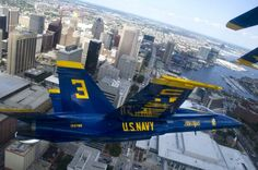 Brandon Cordill, left wingman of the U. Navy flight demonstration squadron, the Blue Angels, flies an Hornet over Baltimore during the Star Spangled Sailabration. Us Navy Blue Angels, Military Flights, Baltimore City, Baltimore Maryland, Aircraft Painting, Star Spangled Banner, States In America, United States, Angel Pictures