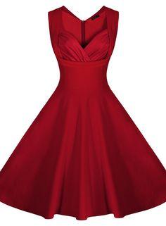 d204b04ed70b Miusol® Women s Cut Out V-Neck Vintage Casual Polka Dot 1950 S Retro Dress (