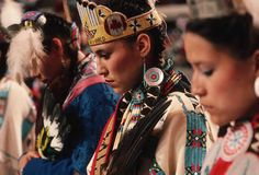 Native American Dancers: A female Native American dance group prepares to perform at The Red Earth Festival in 1992. Oklahoma is home to many Native American people including the Choctaw, Cherokee and Comanche. (Photo Credit: Peter Turnley/CORBIS)