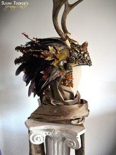 Decent idea for a means of attaching antlers to a headdress.  Antler Headdress Celtic Ritual Crown Fairy Costume Offbeat Wedding Pagan Bridal Deer Skull DIANA THE HUNTRESS by Spinning Castle