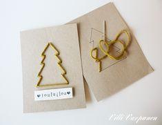Tämä idea sai alkunsa lapsuuden ompelukorteista. Muistatteko vielä niitä settejä, joissa tuli useita kuvitettuja ja rei'itettyjä pa... Diy Christmas Cards, Diy Christmas Ornaments, Xmas Cards, All Things Christmas, Diy Cards, Holiday Crafts, Christmas Time, Gifts, Image