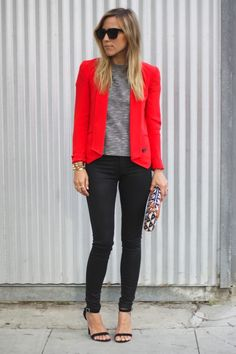 Red + black = this night-out look.