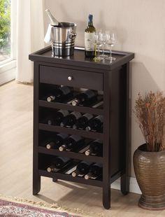 WholeSale Interiors Baxton Studio Atlanta Dark Brown Wood Modern Wine Cabinet