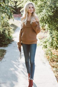 Lauren Bushnell wearing Lpa Sweater 2 in Caramel, Dolce Vita Seth Booties, Grlfrnd Karolina Distressed Jeans in Close to You and Rebecca Minkoff Leo Envelope Clutch