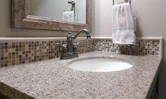 Half bath featuring Amarillo Pearl granite provided by Accent Interiors Custom Countertops, Granite Countertops, Kitchen And Bath Remodeling, Bathrooms, Sink, Design Inspiration, Pearl, Interiors, House