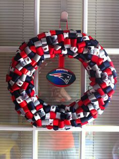 New England Patriots Ribbon Wreath by KKsHandmadeWreaths on Etsy, $25.00