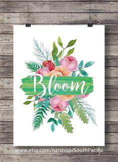 BLOOM | watercolor flowers roses | love romantic garden wall art | Typography…