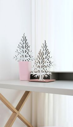 Set of 3 white laser cut cardboard christmas trees. Cardboard Christmas Tree, Christmas Trees, Sustainable Design, Recycling, Home Decor, Xmas Trees, Christmas Tress, Recyle, Repurpose
