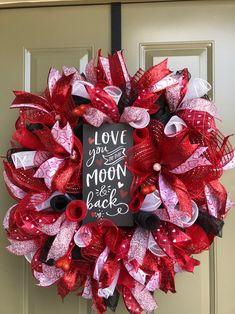 day wreath diy Valentine Deco Mesh Wreath/valentine wreath/Red and black valentine wreath/Love You to the Moon/ Kitkat'z Designz Diy Valentines Day Wreath, Valentines Day Hearts, Valentines Day Decorations, Valentine Crafts, Valentine Stuff, Wreath Crafts, Diy Wreath, Tulle Wreath, Wreath Ideas