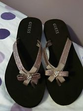 Brand New Guess Sandals / Flip Flops Sparkly Bow Size 10M