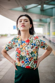 Loren Silk Printed Top by oukymmik on Etsy