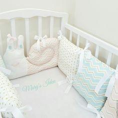 Купить Бортики подушки - тёмно-бирюзовый, детская комната, кроватка, подарок…