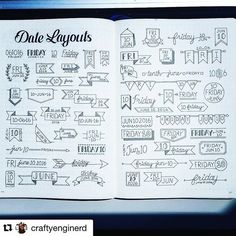 Look at these gorgeous date #headers from @craftyenginerd That's a lot of practice!! ・・・ I gathered some Date headers from Facebook, IG and Pinterest all in one spread. These were found all over! Enjoy! #bulletjournaljunkie #bujojunkies #bulletjournaljunkies #bujojunkie #bujo #bulletjournal #bulletjournaling #dates #journalheaders #journal #dailyjournal #daily #showmeyourplanner