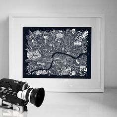 An intricate hand-crafted typographic map of London swarming with film titles, actors and directors, plotted on the map where they most made their mark. Also featuring some of London's most iconic picture houses, film studios and red carpet locations. Combining hand-drawn typography and illustration, the Central London Film Map is a limited edition print by the London-based graphic artist Dex, celebrating the capital's credentials as one of the world's most iconic cinematic citi...