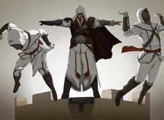 "Ezio teaches a couple of unlucky novices how to make a leap of faith the hard way. ""Epic Shove"" by doubleleaf on DeviantArt.com."