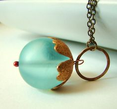 Pale Blue Frosted Glass and Hammered Bronze Circle by lillyandlulu, $22.00