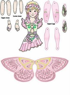 Imprime y recorta estas dulces hadas, las podrás montar y unelas donde te indica el papel tendrás unas marionetas con unas hermosas hadas pa...