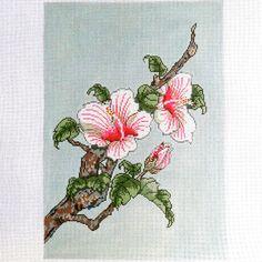 Handpainted Needlepoint canvas Hibiscus Botanical by Julia's Needleworks